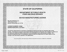California State Department Certificate